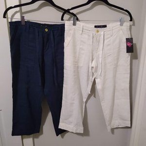 2 pair Susie Rose Blue & White Capri Pants 🌹